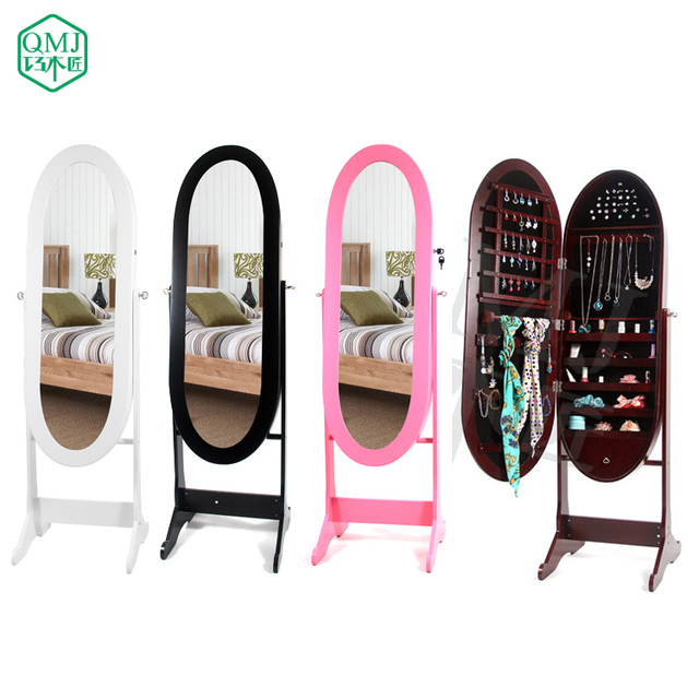 NEW Luxury Large Four Colors Floor Standing Mirror Oval Shape Jewelry  Storage Cabinet Mirror Makeup Organizer