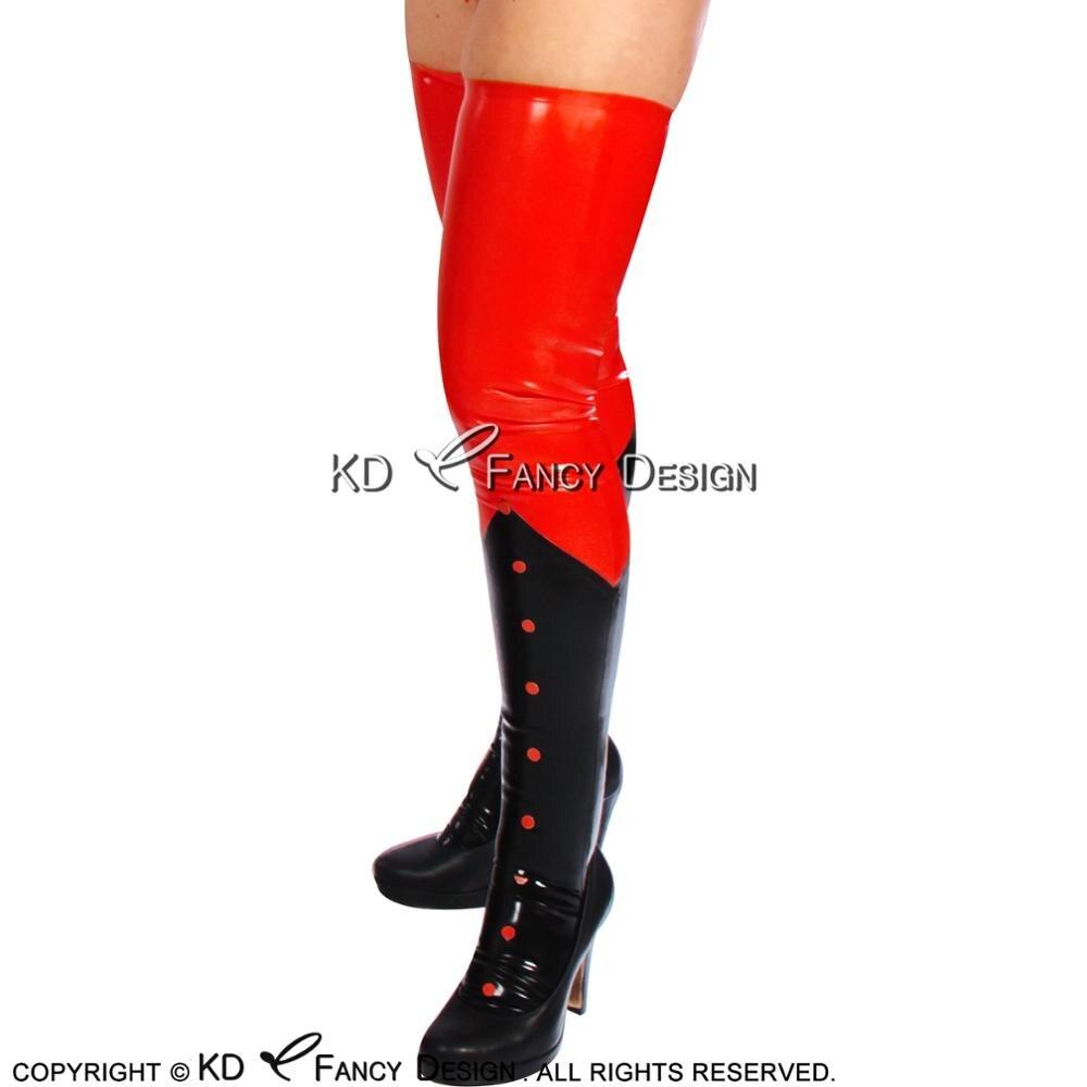 Черные с красным крестом сексуальные длинные латексные чулки резиновые бедра высокие чулки WZ 0011 - 2