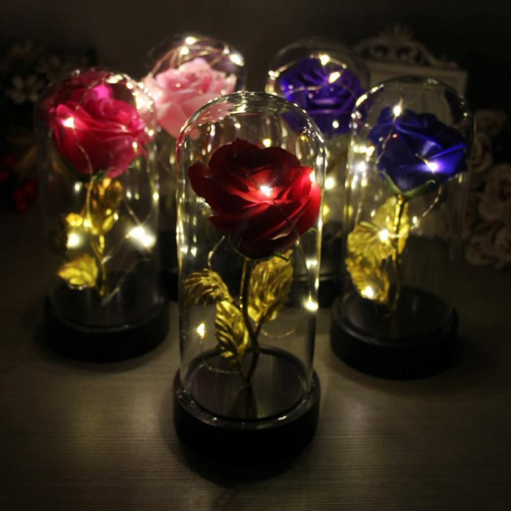 HiMISS Luminous Preserved Rose Flower Light With Dome 9x9x20cm For Home Wedding Decor