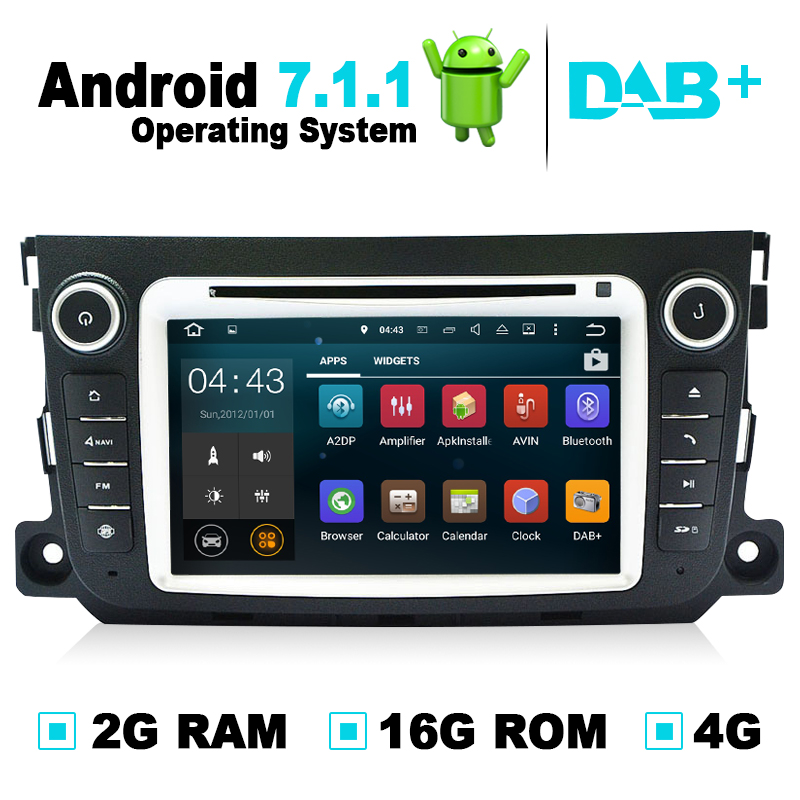 Android 7.1.1 lecteur Radio DVD voiture GPS Navigation Autoradio Audio vidéo pour Mercedes Benz Smart Fortwo 2011 2012 Support DAB +