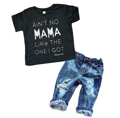 baby summer 2pcs clothing set!!! newborn toddler infant baby boy clothes letter printed tops+denim long pants outfits 2-6T