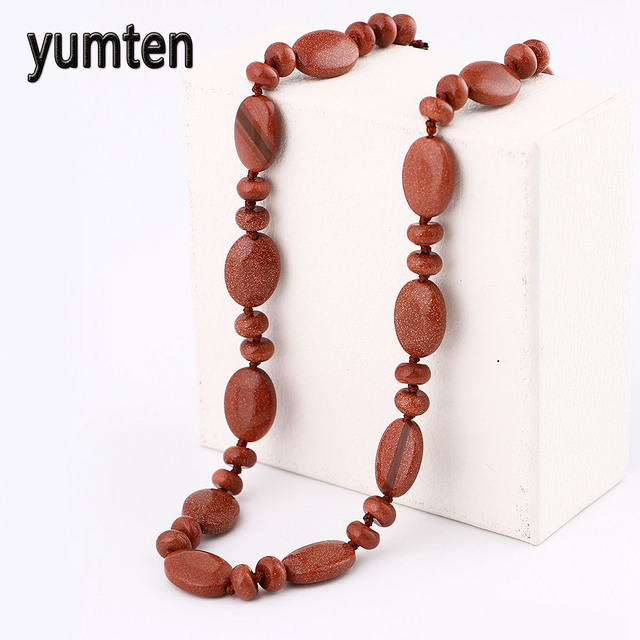 gatos item women choker water power heart drop jewelry bioshock chain yumten goldstone necklace aventurine crystal natural
