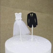 20 pcs Free Shipping Bride skirt and Groom suit Cake Topper Wedding