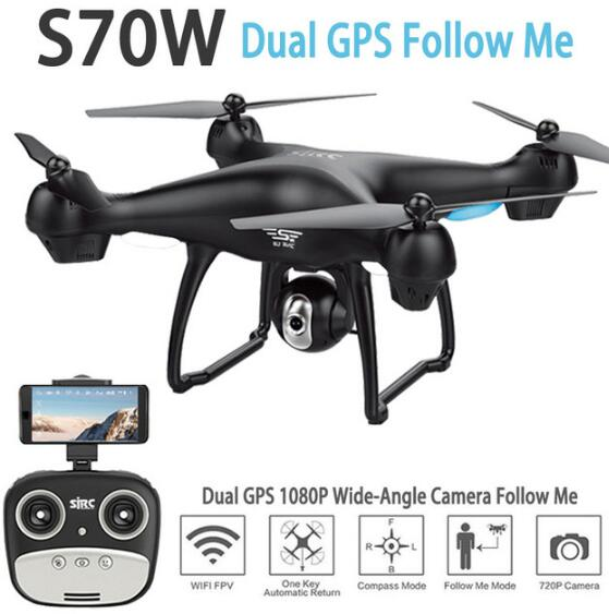 S70W Follow Me GPS FPV RC Drone Quadcopter Helicopter With 2.4g 5g 1080P HD Wide-Angle Adjustable Wifi Fpv Camera VS f11pro dron Квадрокоптер