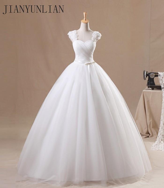 Flower Cap Sleeve Princess Tulle Ball Gown Bow Puffy Wedding Dress Debutante Dress Vestidos de Noiva