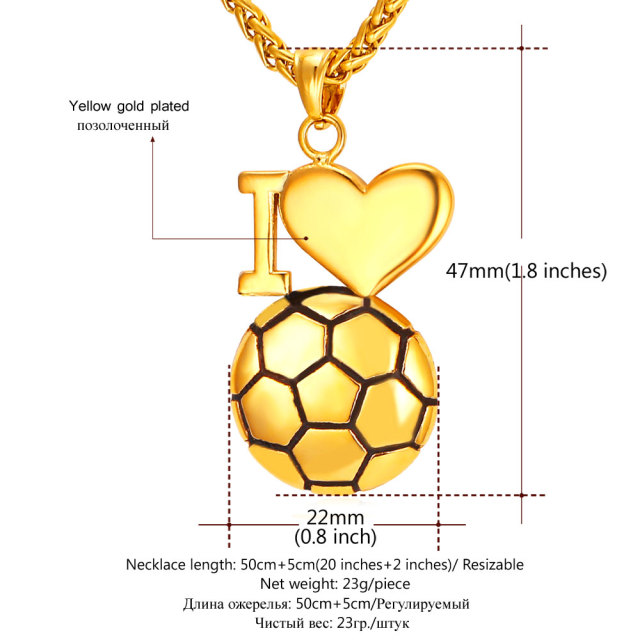 U7 Heart Necklace For Women Men 2016 Stainless Steel Gold Plated I Love Soccer Pendant  Necklace Sport Jewelry P911