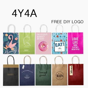 [4Y4A] 100pcs/Lot DIY Logo candy colored kraft paper bag / Festival bags / Paper bag with handles / wholesale (DIY logo >50pcs) 1
