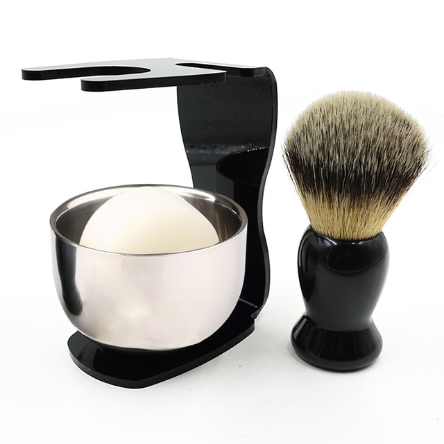 Badger Bristle Shaving Brush + Arcylic Brush Holder + Bowl + Shaving Soap Shaving Set HB88