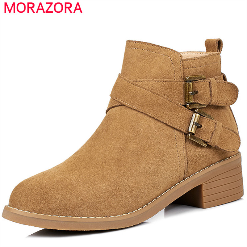 MORAZORA 2018 Spring autumn boots female fashion shoes cow suede leather boots zip solid buckle ankle boots for women