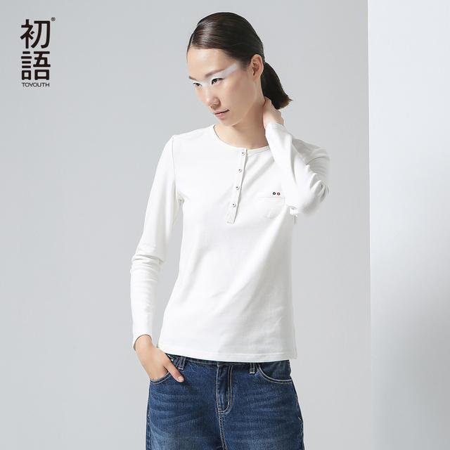 Toyouth 2017 Camisetas Novo Estilo de Outono Mulheres Algodão Casual Sólidos Completa Botão Magro Elasticidade O Pescoço Top