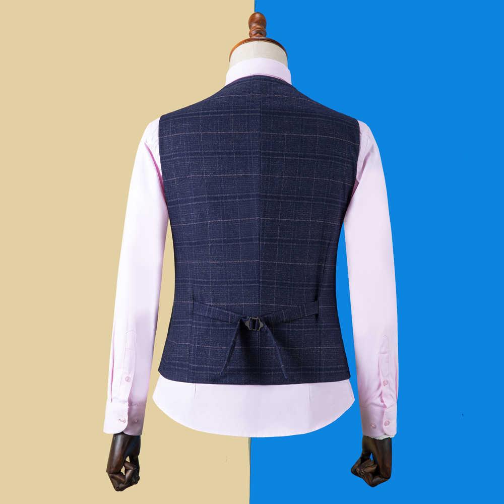 OSCN7 2019 Plaid trajes hechos a medida hombres Slim Fit boda fiesta hombre traje hecho a medida 3 piezas Blazer Pantalones chaleco DM-029