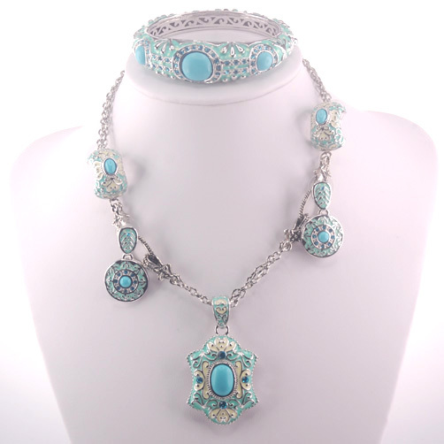 Green Crystal Zircon 925 Sterling Silver Jewelry Set Necklace Pendant Earrings Bracelet SET405 classical malachite green round shell simulated pearl abacus crystal 7 rows necklace earrings women ceremony jewelry set b1303