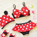 2017 Children Swimwear Cartoon Dot Baby Kids Girls Bikini Swimsuit Two Pieces with Swimming Cap 1-8Y