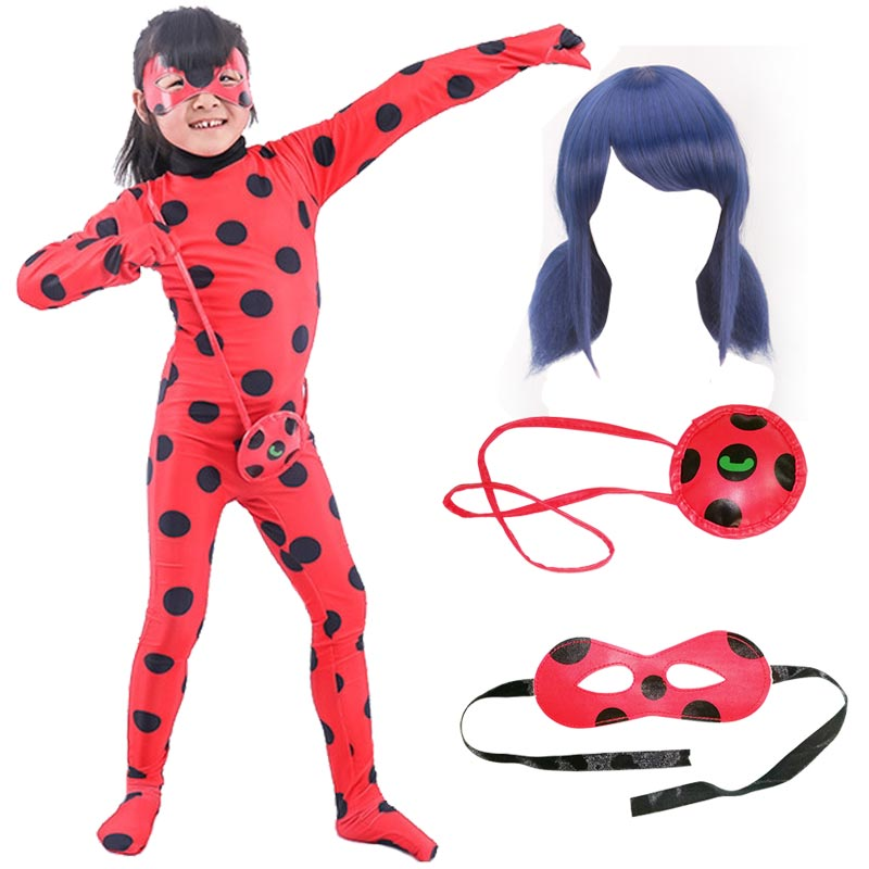 Fancy Lady Bug Halloween Costumes Girls Women Children Spandex Ladybug Costumes for Kids Adult Suit Wig Bag