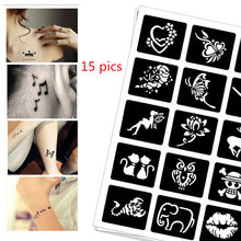15 pics Henna Tattoo Stencils DIY Jagua Drawing Templates Airbrush Painting Mehndi Body Art Small Flash Tatoo Stencil C25 цена