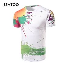 zemtoo Men's Fashion 3D Printed ink T-shirts Men's Brand Casual Tops Male Summer Cotton Short Sleeve Funny T-shirt Homme  ZM0176