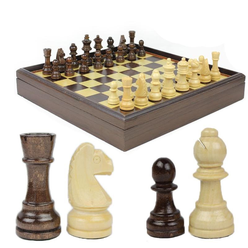 BSTFAMLY wood chess set portable game of international chess 31 31 5 3cm box chessboard chess