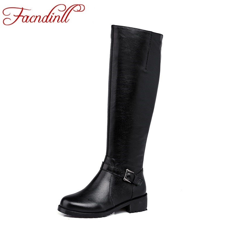 ФОТО plus size solid elegant women knee kigh boots high quality real leather woman winter boots square heel zip casual dress shoes