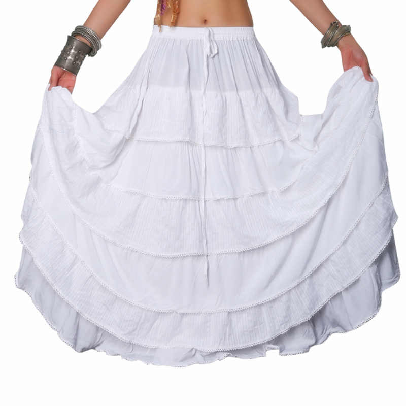 08d7ab7155 10 Yards Women Tribal Bellydance Skirt Solid Color Double Layers Cotton  Skirt Full Circle Belly Dance