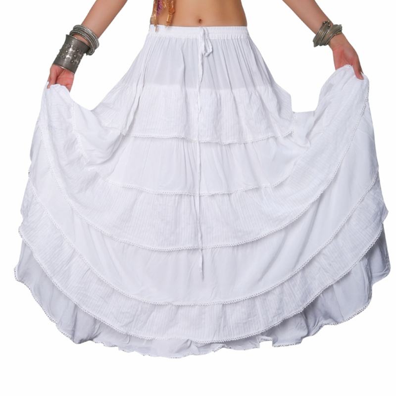 10 Yards Women Tribal Bellydance Skirt Solid Color Double Layers Cotton Skirt Full Circle Belly Dance Gypsy Skirts ATS
