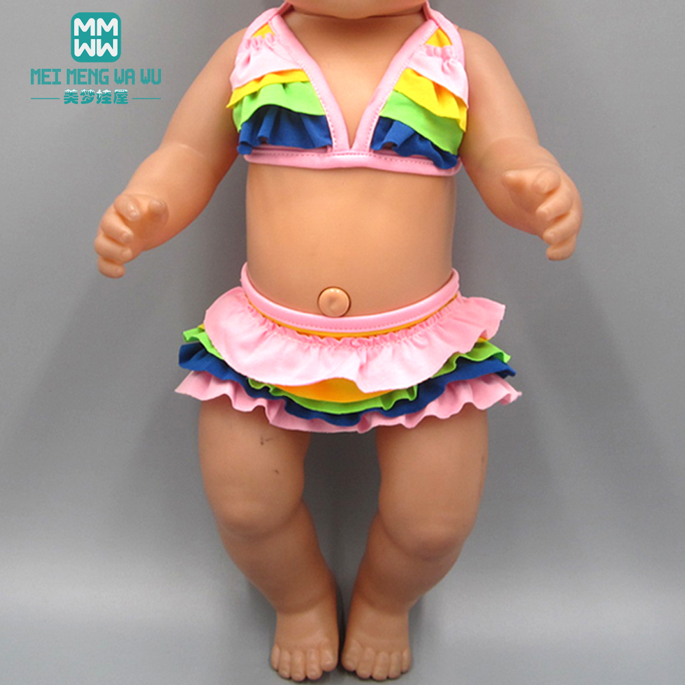 Fashion baby printed swimsuit suit for 43cm toy new born doll and American doll clothesFashion baby printed swimsuit suit for 43cm toy new born doll and American doll clothes