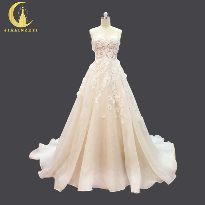 JIALINZEYI Real Picture spaghetti strap Nude Inside lace Flowers Organza  Wedding Dresses long train arabic wedding dress 2019