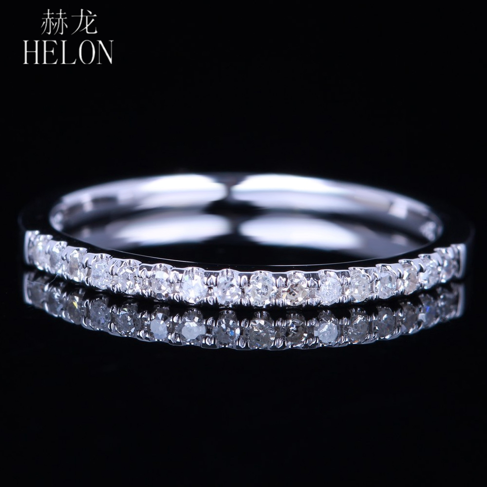 HELON SOLID 10K WHITE GOLD PAVE NATURAL DIAMONDS SPARKLED WEDDING HALF ETERNITY BAND ENGAGEMENT ANNIVERSARY WOMENS FINE RING