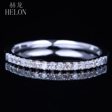 HELON SOLID 10K WHITE GOLD PAVE NATURAL DIAMONDS SPARKLED WEDDING HALF ETERNITY BAND ENGAGEMENT ANNIVERSARY WOMEN'S FINE RING solid 14k rose gold natural diamonds engagement ring women wedding band anniversary party vintage ring fine jewelry