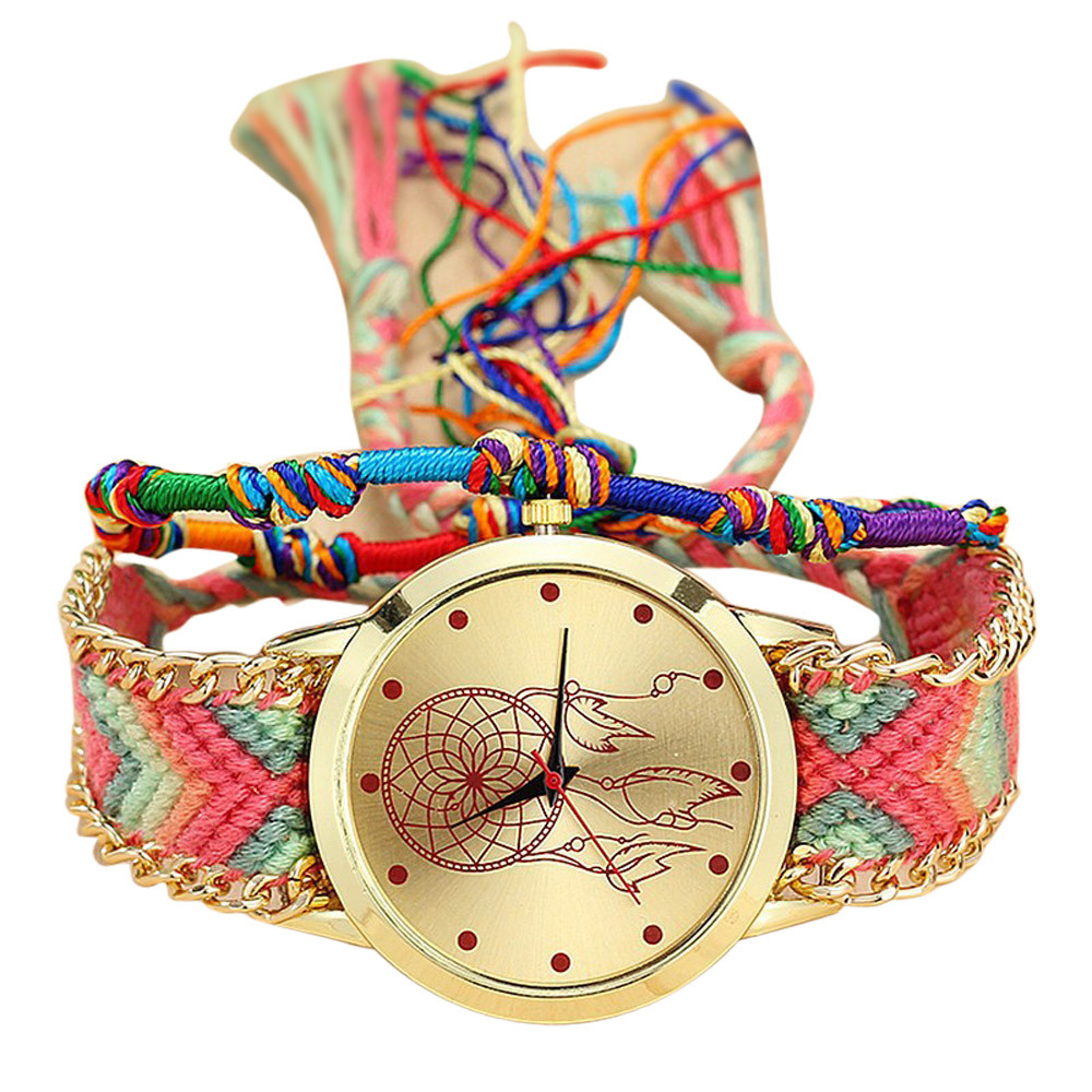 Vansvar Vintage Women Native Handmade Quartz Watch Knitted Dreamcatcher Friendship Watch Relojes Mujer Dropshipping  533Vansvar Vintage Women Native Handmade Quartz Watch Knitted Dreamcatcher Friendship Watch Relojes Mujer Dropshipping  533