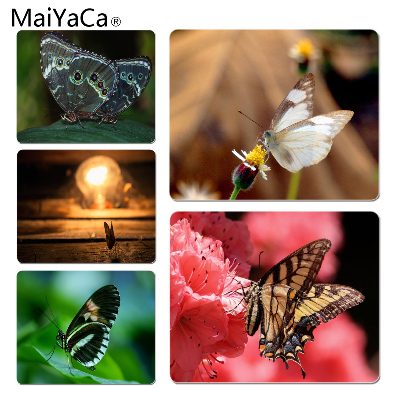 MaiYaCa Cool New Butterfly mouse pad gamer play mats Size for 18x22cm 25x29cm Rubber Mousemats