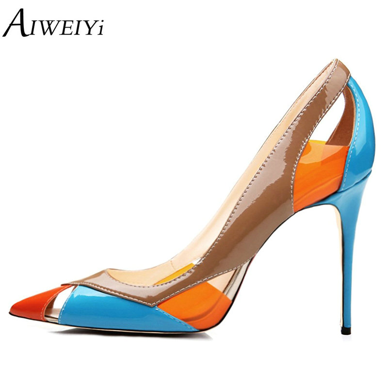 AIWEIYi Women's Pointed toe High Heels Pump Shoes 2018 Multicolor Slip On Ladies Wedding Party Shoes Stilettos Heels Spike Shoes aiweiyi fashion womens metal heel stilettos high heels shoes pointed toe slip on sexy women pumps summer party wedding shoes