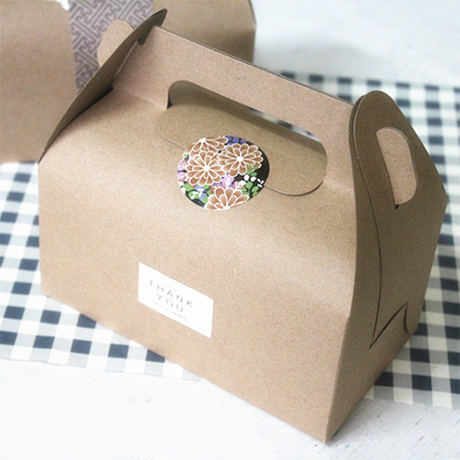 2 sizes korea style white brown kraft cake box with handle