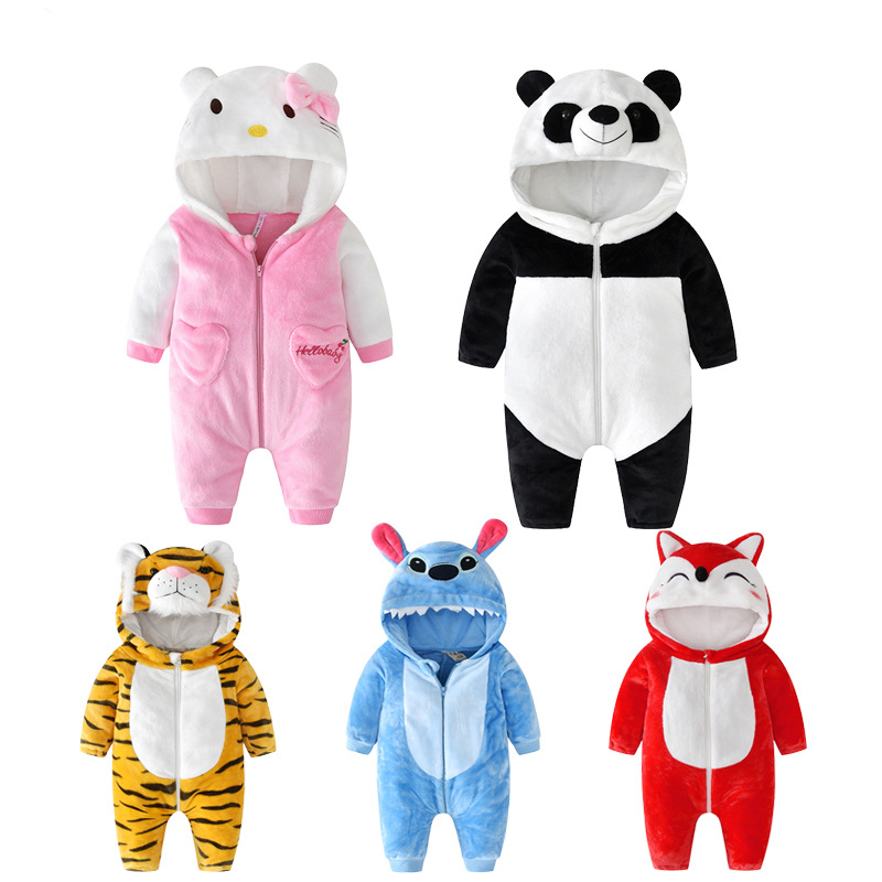 Baby   Rompers   Newborn Boys Girls Clothes Baby Cartoon Kitty Pajamas Winter Animal Toddler Onesie Flannel Infant Costumes 0-2 T
