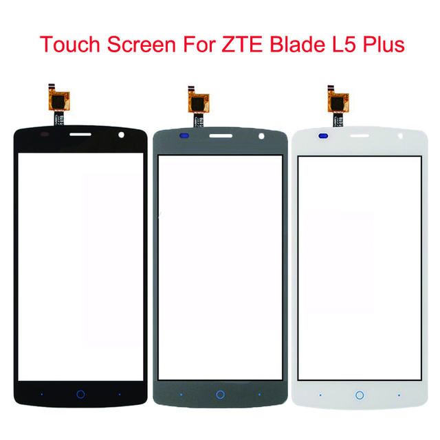 """New Black Gray White Touch Screen For ZTE Blade L5 Plus Glass Lens Sensor Original 5.0"""" Front Touch Panel Replacement Accessory"""