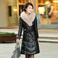 Новый 2016 зимняя куртка пальто большой меховой воротник кожаной куртки долго вниз пальто утолщение Теплая Куртка Бесплатная Доставка