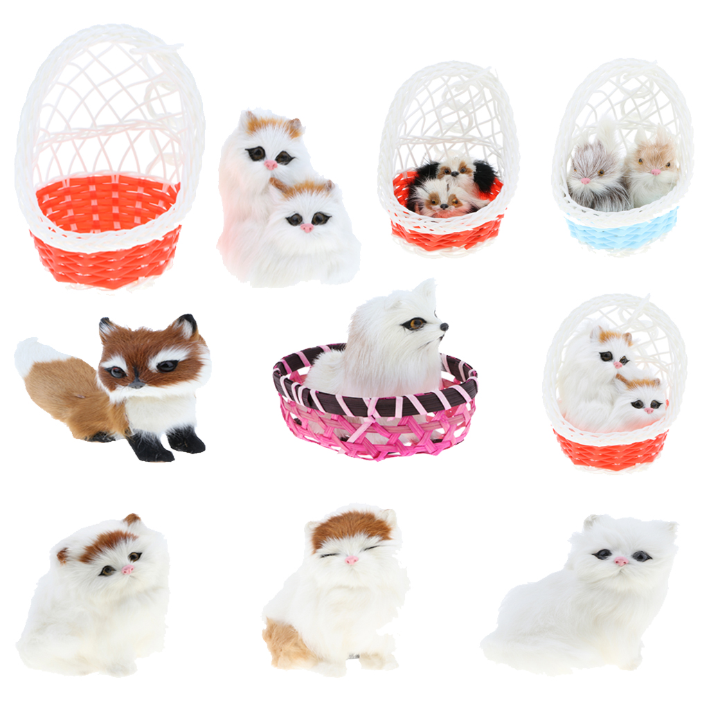 Home Decoration Collection Us 3 69 42 Off Simulation Faux Fur Aniamal Models In Hanging Basket Dog Cat Fox Figurine Home Decoration Collection Toy Gifts In Stuffed Plush