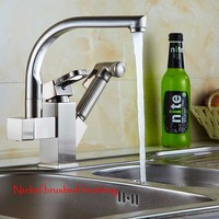 360 Degree Swivel Pull Out Kitchen Faucet Chrome Gold Nickel Brush Basin Mixer Brass Tap Vessel