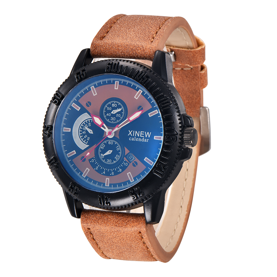 982091f4581 Mens Watches Top Brand XINEW Original Fashion Sports Leather Casual Quartz  Watch with Date Calendar Relogio Masculino Esportivo