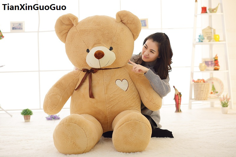 stuffed toy huge 140cm love heart light brown teddy bear plush toy silk belt bear soft doll hugging pillow birthday gift s0367 stuffed animal largest 200cm light brown teddy bear plush toy soft doll throw pillow gift w1676