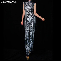 European Style Female Singer Dance Costume Black White Geometric Pattern Rhinestones Jumpsuits Prom Party Stage One Piece Outfit