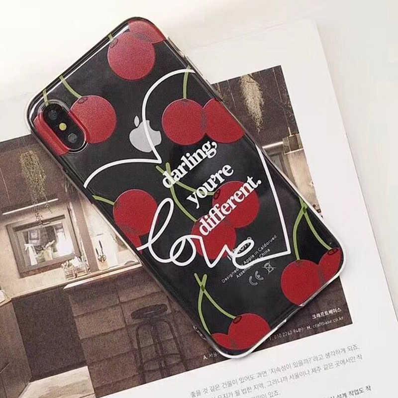 Manque belle bande dessinée fruits cerise coque de téléphone pour iphone X étui pour iphone 6 6 S 7 8 Plus mignon amour coeur clair doux lettre couverture