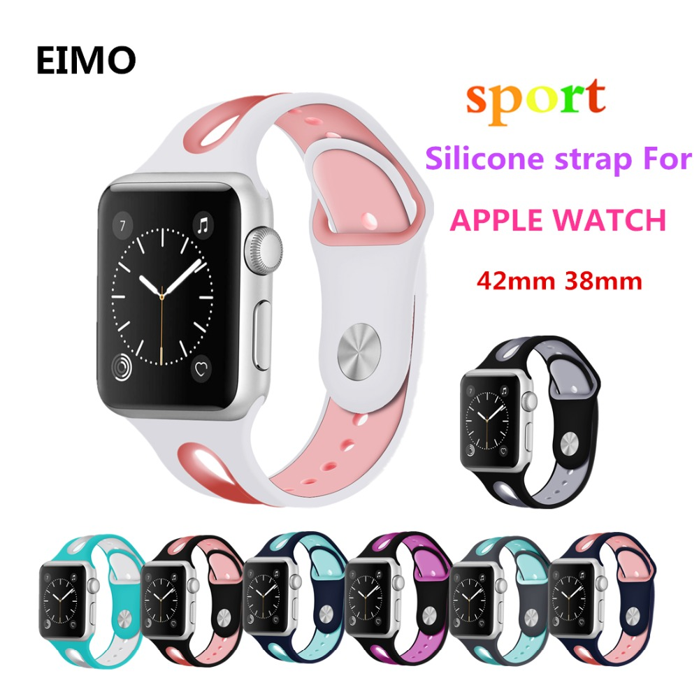 EIMO Silicone Sport band For Apple watch 4 44mm 40mm strap series 4 3 2 1 Iwatch bands 42mm 38mm bracelet wrist belt watchbandsEIMO Silicone Sport band For Apple watch 4 44mm 40mm strap series 4 3 2 1 Iwatch bands 42mm 38mm bracelet wrist belt watchbands