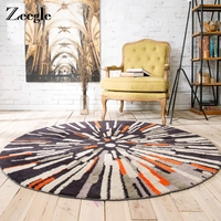 Zeegle European Decoration Round Carpet For Living Room Abstract Painting Mats Welcome Floor Anti Slip Rug