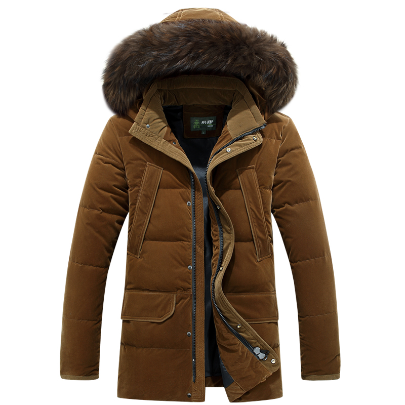 Plus Size 4XL Fur Collar Mens Medium Long Overcoat White Duck Down Jacket Men Thick Thermal Russia Winter Down Coat -30 Degree