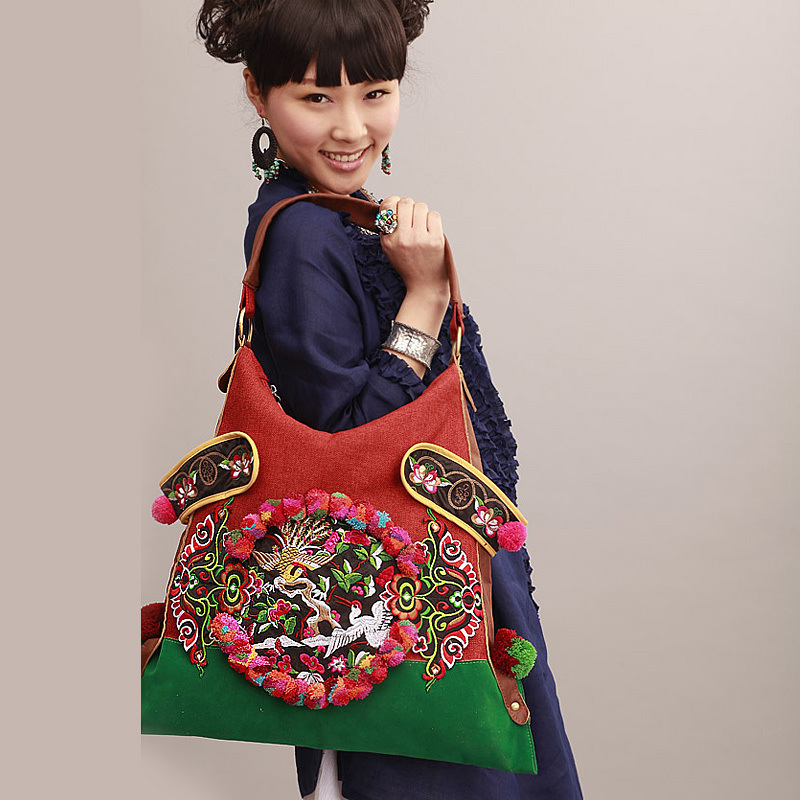 HOT SALES Ethnic embroidery women bag fashion burlap big shoulder bags handmade pu ball bagsHOT SALES Ethnic embroidery women bag fashion burlap big shoulder bags handmade pu ball bags
