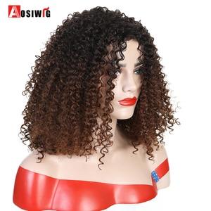 Image 2 - Krótki Afro perwersyjne peruki syntetyczne z kręconymi włosami dla czarnych kobiet Ombre brązowy naturalne Afro kręcone peruki z grzywką na imprezę Cosplay peruki AOSIWIG