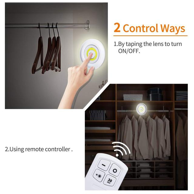 Round White Plastic Light with Remote Control