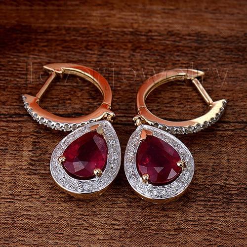 Loverjewelry 100% Təbii Diamond Sırğalar Moda Zərgərlik 14K - Gözəl zərgərlik - Fotoqrafiya 2