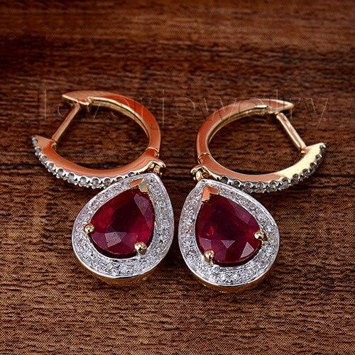 Loverjewelry 100% pendientes de diamantes naturales joyería de moda 14 K oro amarillo rubí pendientes de compromiso para mujeres amor joyería regalo-in Conjuntos de joyería from Joyería y accesorios    2