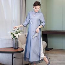 Light blue mesh dress midi modern chinese dresses woman party night elegant vintage 2019 summer floral print robe zipped clothes цена и фото